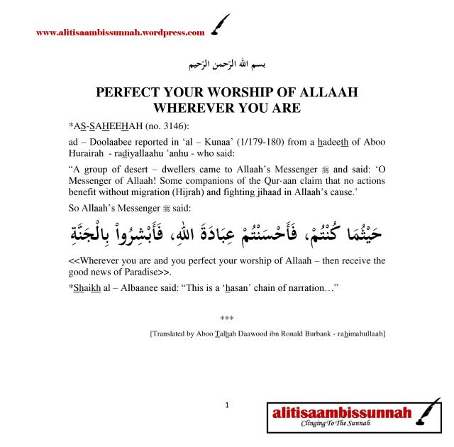 PERFECT YOUR WORSHIP OF ALLAAH WHEREVER YOU ARE-page-001